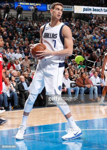 Dwight Powell of the Dallas Mavericks handles the ball against the Washington Wizards on January 22 2018 at the American Airlines Center in Dallas...