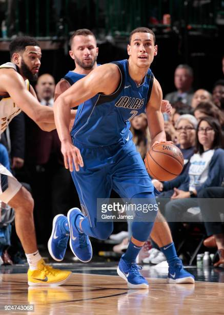 Dwight Powell of the Dallas Mavericks handles the ball against the Indiana Pacers on February 26 2018 at the American Airlines Center in Dallas Texas...