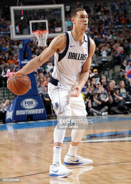 Dwight Powell of the Dallas Mavericks handles the ball against the Minnesota Timberwolves on March 30 2018 at the American Airlines Center in Dallas...