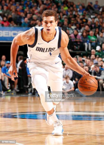 Dwight Powell of the Dallas Mavericks handles the ball during the game against the Boston Celtics on November 20 2017 at the American Airlines Center...