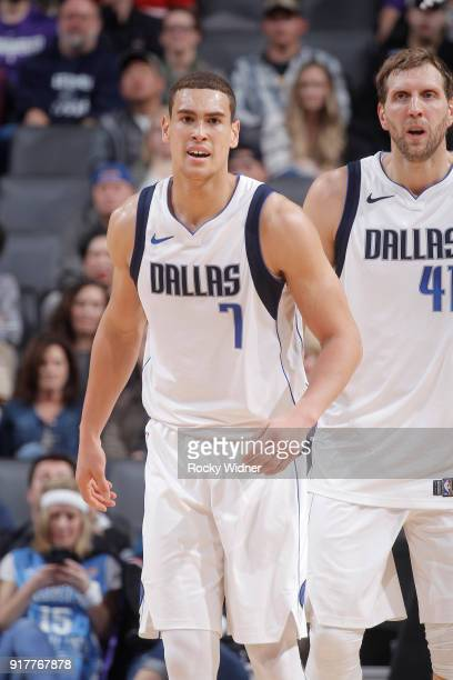 Dwight Powell of the Dallas Mavericks looks on during the game against the Sacramento Kings on February 3 2018 at Golden 1 Center in Sacramento...
