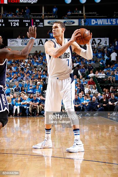 Dwight Powell of the Dallas Mavericks looks to pass the ball in Game Three of the Western Conference Quarterfinals against the Oklahoma City Thunder...