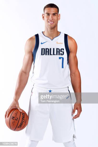 Dwight Powell of the Dallas Mavericks poses for a portrait during the Dallas Mavericks Media Day held at American Airlines Center on September 21...