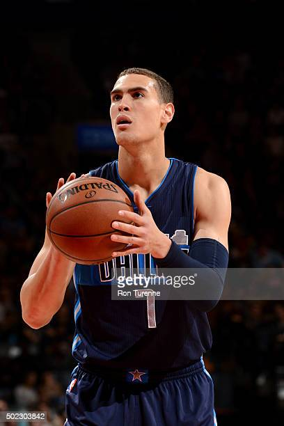 Dwight Powell of the Dallas Mavericks prepares to shoot a free throw against the Toronto Raptors on December 22 2015 at the Air Canada Centre in...