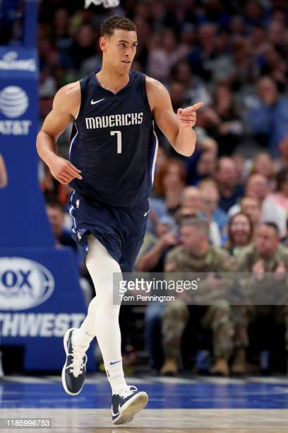 Dwight Powell of the Dallas Mavericks reacts after scoring against the Orlando Magic in the first quarter at American Airlines Center on November 06...