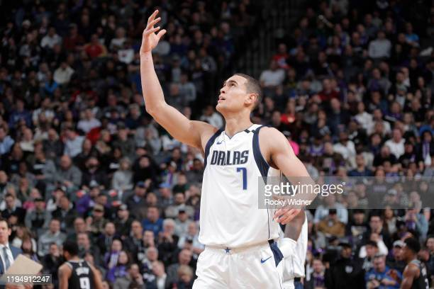Dwight Powell of the Dallas Mavericks reacts during the game against the Sacramento Kings on January 15 2020 at Golden 1 Center in Sacramento...
