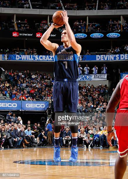 Dwight Powell of the Dallas Mavericks shoots a jumper against the Chicago Bulls on December 3 2016 at the American Airlines Center in Dallas Texas...