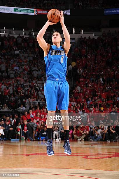 Dwight Powell of the Dallas Mavericks shoots against the Houston Rockets in Game Two of the Western Conference Quarterfinals during the 2015 NBA...