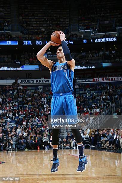 Dwight Powell of the Dallas Mavericks shoots the ball against the New Orleans Pelicans on January 21 2016 at the Smoothie King Center in New Orleans...