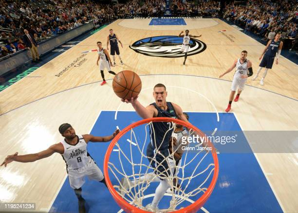 Dwight Powell of the Dallas Mavericks shoots the ball against the LA Clippers on January 21 2020 at the American Airlines Center in Dallas Texas NOTE...