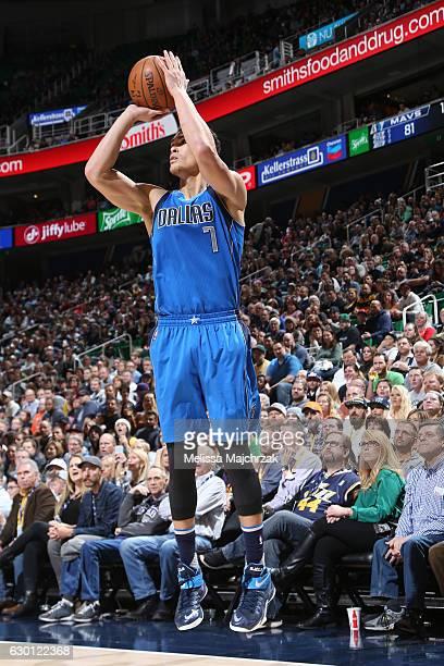 Dwight Powell of the Dallas Mavericks shoots the ball against the Utah Jazz on December 16 2016 at vivintSmartHome Arena in Salt Lake City Utah NOTE...