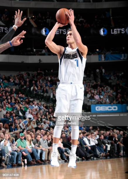 Dwight Powell of the Dallas Mavericks shoots the ball against the Orlando Magic on January 9 2018 at the American Airlines Center in Dallas Texas...