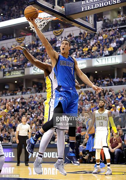 Dwight Powell of the Dallas Mavericks shoots the ball during the game against the Indiana Pacers at Bankers Life Fieldhouse on October 26 2016 in...