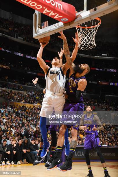 Dwight Powell of the Dallas Mavericksshoots the ball against the Los Angeles Lakers on November 30 2018 at STAPLES Center in Los Angeles California...