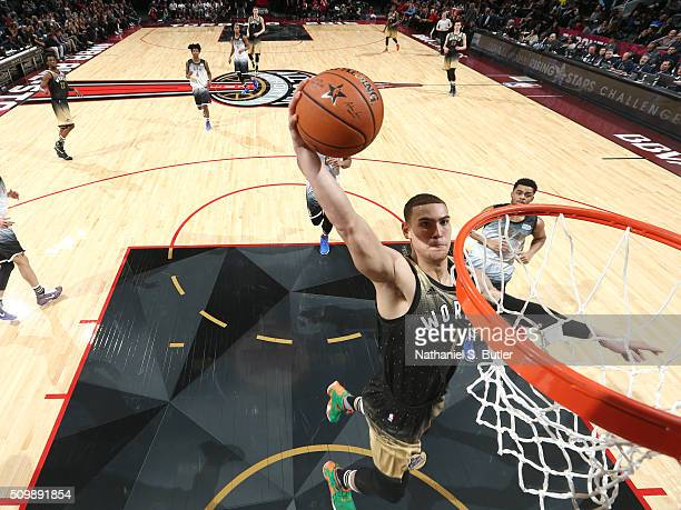 Dwight Powell of the World Team drives to the basket against the USA Team during the BBVA Compass Rising Stars Challenge as part of NBA AllStar 2016...