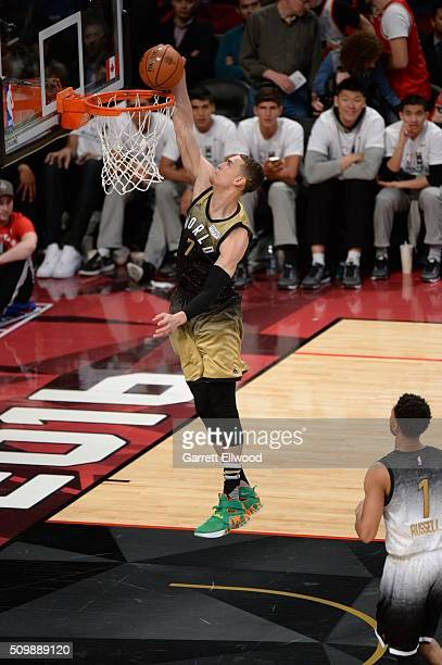 Dwight Powell of the World Team dunks against the USA Team during the BBVA Compass Rising Stars Challenge as part of 2016 NBA AllStar Weekend on...