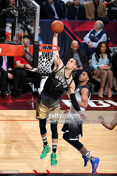 Dwight Powell of the World Team dunks the ball against the USA Team during the BBVA Compass Rising Stars Challenge as part of NBA AllStar 2016 on...