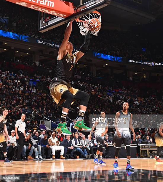 Dwight Powell of the World Team dunks the ball during the BBVA Compass Rising Stars Challenge as part of the 2016 NBA All Star Weekend on February 12...