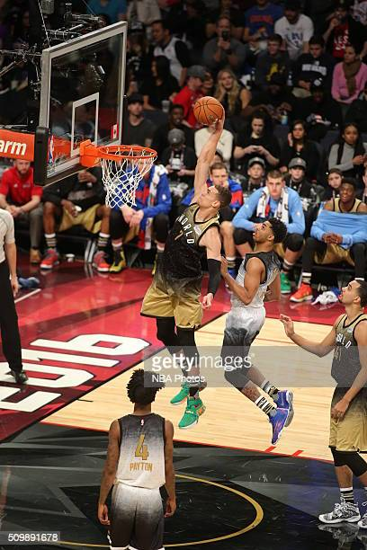 Dwight Powell of the World Team goes to the basket against the USA Team during the BBVA Compass Rising Stars Challenge as part of 2016 NBA AllStar...