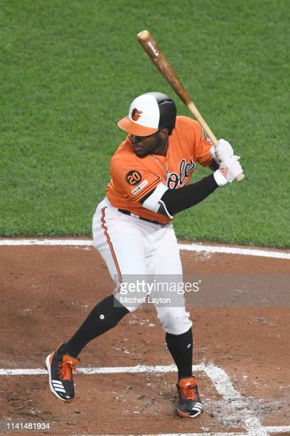 Dwight Smith Jr #35 of the Baltimore Orioles prepares for a pitch during a baseball game against the New York Yankees at Oriole Park at Camden Yards...