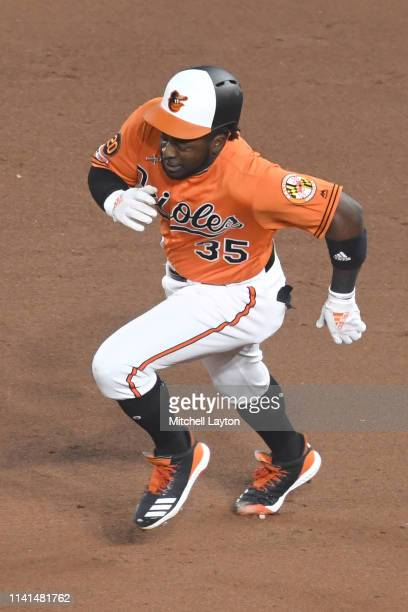 Dwight Smith Jr #35 of the Baltimore Orioles runs to second base during a baseball game against the New York Yankees at Oriole Park at Camden Yards...