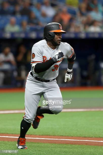 Dwight Smith Jr of the Orioles hustles to first base on his way to second base on a double during the MLB regular season game between the Baltimore...