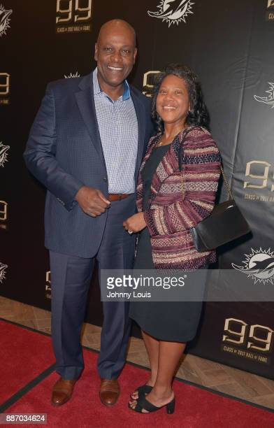 Dwight Stephenson and Dana Stephenson attend The Miami Dolphins 'Hall of Fame Celebration' hosting Jason Taylor at Hard Rock Stadium on December 02...