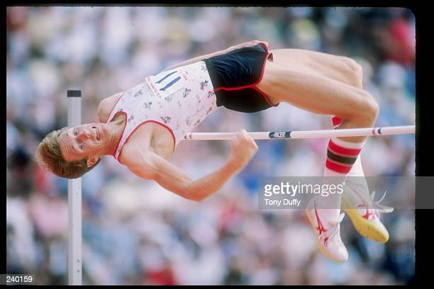 Dwight Stones does the high jump during the US Olympic Trials in Los Angeles California Mandatory Credit Tony Duffy /Allsport