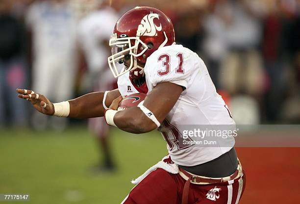 Dwight Tardy of the Washington State Cougars carries the ball during the game against the USC Trojans on September 22 2007 at the Los Angeles...