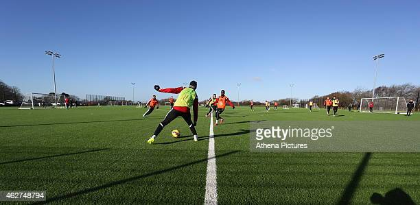 Dwight Tiendalli stops the ball during a Swansea City training session at Fairwood training ground on February 4 2015 in Swansea Wales