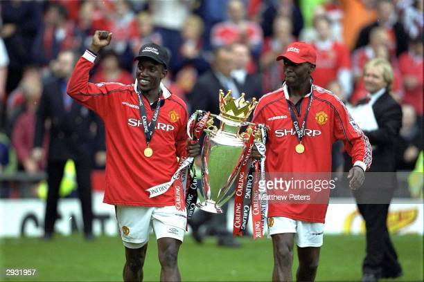 Dwight Yorke and Andy Cole celebrate after the FA Carling Premiership match between Manchester United v Tottenham Hotspur at Old Trafford on May 16...