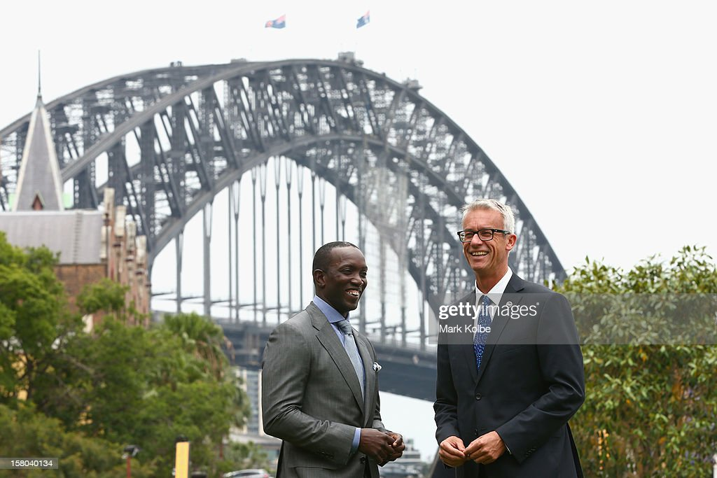 Dwight Yorke and FFA CEO David Gallop pose after a press conference at Museum of Contemporary Art on December 10, 2012 in Sydney, Australia. Manchester United will play an A-League All-Stars match in Sydney on July 20, 2013.