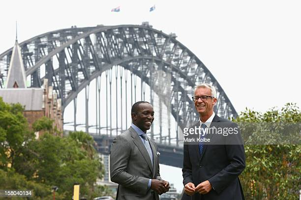 Dwight Yorke and FFA CEO David Gallop pose after a press conference at Museum of Contemporary Art on December 10, 2012 in Sydney, Australia....