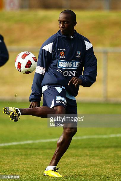 Dwight Yorke controls the ball during a Sydney FC ALeague training session ahead of the Sydney FC v Everton Tour Down Under match on July 10 at...