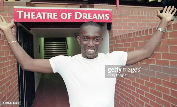 Dwight Yorke is unveiled to the media as a Manchester United player at Old Trafford on August 20 1998 in Manchester United Kingdom