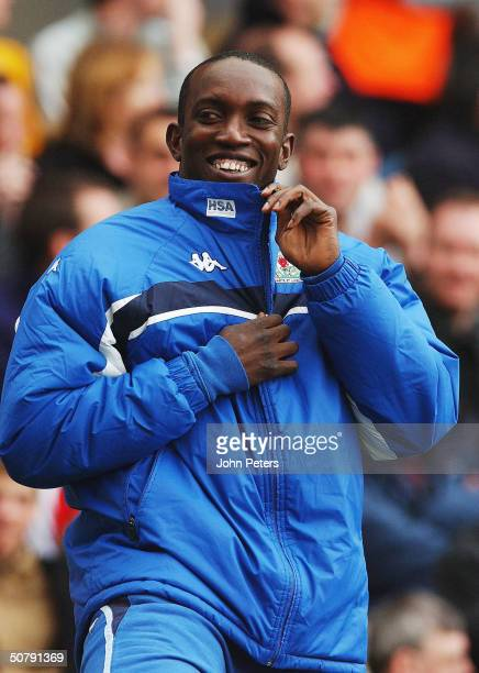 Dwight Yorke of Blackburn Rovers smiles while warming up during the FA Barclaycard Premiership match between Blackburn Rovers and Manchester United...