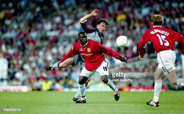 Dwight Yorke of Manchester United and Lothar Matthaus of Bayern Munich during the UEFA Champions league final match between Manchester United and...