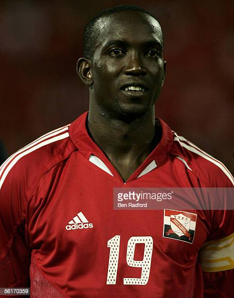 Dwight Yorke of Trinidad during the FIFA World Cup Playoff 1st Leg match between Trinidad and Tobago and Bahrain at The Hasely Crawford Stadium on...