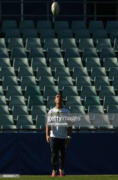 dWill Hopoate warms up during a Parramatta Eels NRL training session at Pirtek Stadium on May 16 2014 in Sydney Australia