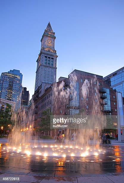 Dwntown Boston City Fountain at Sunset
