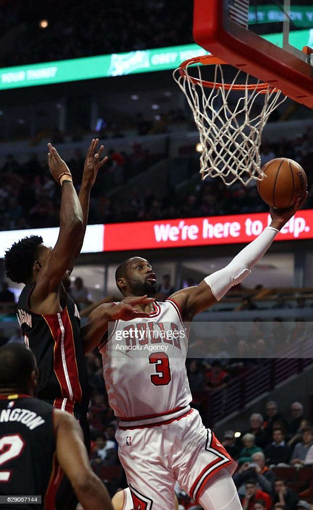Dwyan Wade (3) of Chicago Bulls in action during the NBA match between Miami Heat and Chicago Bulls on December 10, 2016 at the United Center in Chicago, Illinois.