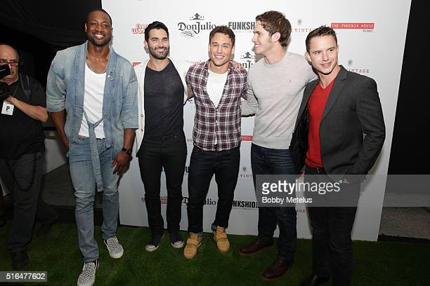 Dwyane Wade and actors Tyler Hoechlin Ryan Guzman Blake Jenner and Will Brittain attends Funkshion Fashion Week in Miami event featuring Phoenix...