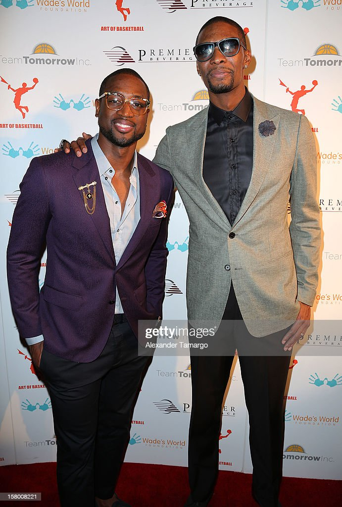 Dwyane Wade and Chris Bosh make an appearance as Premier Beverage Hosts Art Of Basketball: Heat Wave With Dwyane Wade & Chris Bosh on December 7, 2012 in Miami, Florida.