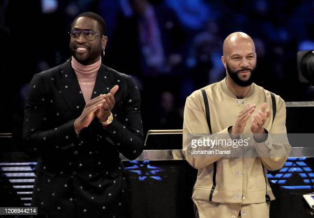Dwyane Wade and Common are introduced in the 2020 NBA AllStar ATT Slam Dunk Contest during State Farm AllStar Saturday Night at the United Center on...