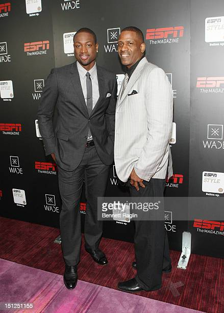 Dwyane Wade and Dwyane Wade Sr attend the Dwyane Wade Book Launch Celebration With ESPN The Magazine at Jazz at Lincoln Center on September 4 2012 in...
