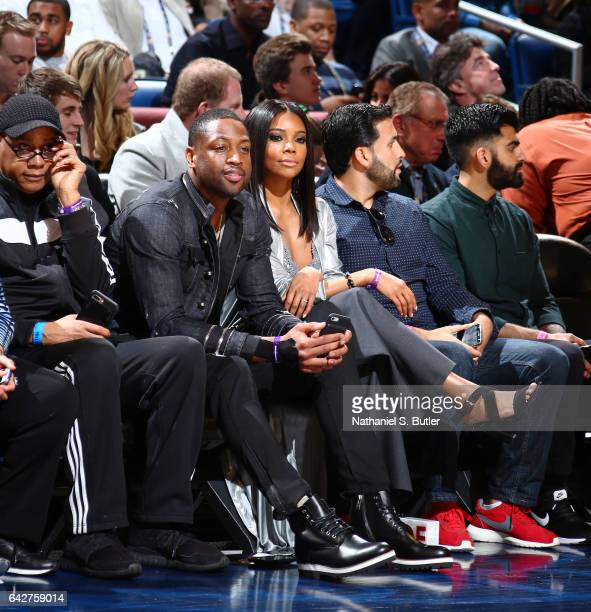 Dwyane Wade and Gabriel Union during the JBL ThreePoint Contest during State Farm AllStar Saturday Night as part of the 2017 NBA AllStar Weekend on...