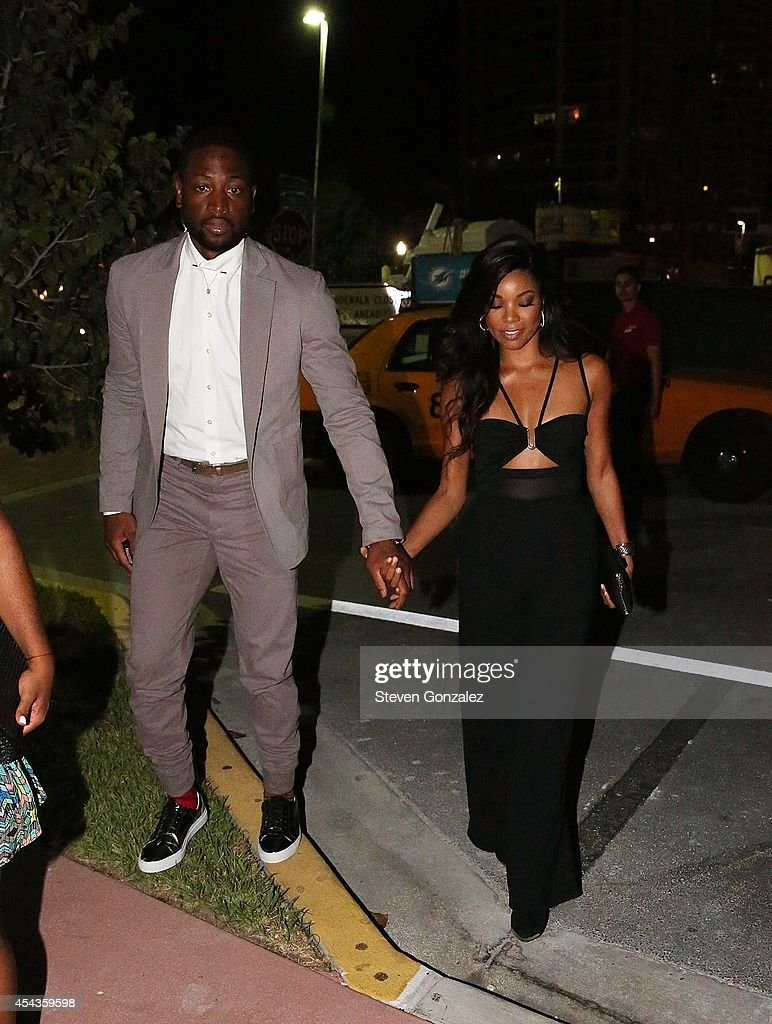 Dwyane Wade and Gabrielle Union leave their wedding rehearsal dinner at Prime 112 Steakhouse on August 29, 2014 in Miami Beach, Florida.