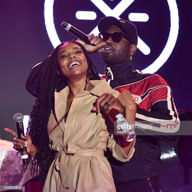Dwyane Wade and Gabrielle Union perform onstage at ONE37pm x Dwyane Wade's Masters of the Mic Karaoke at Night Two of BUDX Miami by Budweiser on...