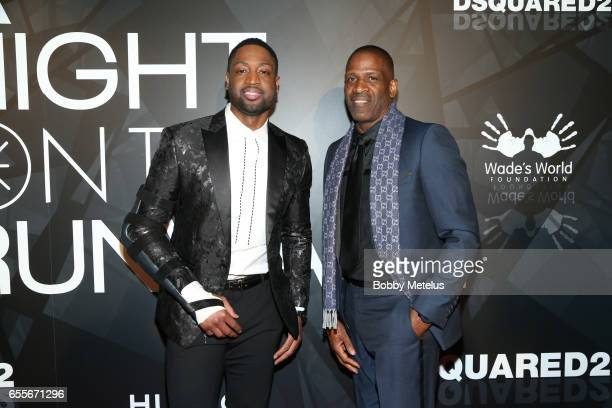 Dwyane Wade and his father Dwyane Wade Sr on the red carpet at the A Night on the Runwade Event at Revel Fulton Market on March 19th 2017 in Chicago...
