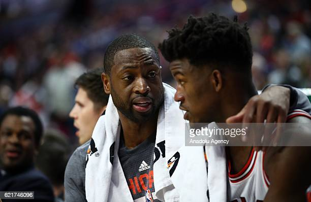 Dwyane Wade and Jimmy Butler during a NBA game between Chicago Bulls and Orlando Magic at the United Center in Chicago Illinois United States on...